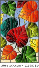 Illustration in stained glass style with colorful leaves trees on a blue backgro. Illustration in stained glass style with colorful leaves trees on a blue background Stained Glass Paint, Stained Glass Flowers, Stained Glass Crafts, Stained Glass Designs, Stained Glass Patterns, Glass Painting Designs, Landscape Quilts, Fabric Painting, Mosaic Art