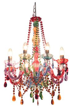 Febland Festival Multi Coloured 8 Lamp Chandelier Pendant Light with Drops. The Febland is part of the Pendant Lighting range. Antique Chandelier, Chandelier Pendant Lights, Acrylic Chandelier, Cheap Chandelier, Crystal Chandeliers, Chandelier Earrings, Deco Boheme, Funky Furniture, Wood Furniture