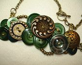 Button Necklace - Vintage Button Jewelry - EMERALD - GREEN - BRONZE - gold and green