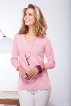 Pull en laine à coudières. Bicolore rose et gris. Fabriqué en France. Bernard-Solfin