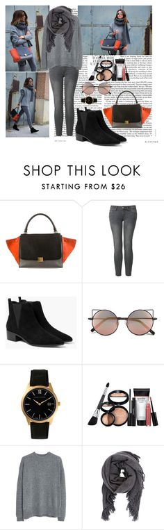 """""""#34"""" by eminica ❤ liked on Polyvore featuring CÉLINE, Uniqlo, MANGO, Linda Farrow, Larsson & Jennings, Laura Geller and Isabel Marant"""