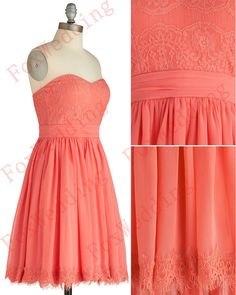 Short Coral Bridesmaid Dresses Chiffon Bridesmaid by FoxWedding
