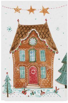 Trademark Global Irina Trzaskos Studio 'Gingerbread House Ii' Canvas Art - 19 x 12 x 2 Noel Christmas, All Things Christmas, Christmas Crafts, Xmas, Italian Christmas, Illustration Noel, Christmas Illustration, Illustrations, Christmas Drawing