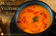 Moroccan Vegetable Soup Recipe. A yummy soup with carrots, parsnips and pumpkin.