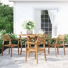 Beachcrest Home Angela 5 Piece Dining Set 5 Piece Dining Set, Outdoor Furniture Sets, Stackable Dining Chairs, Dining Table Setting, Traditional Furniture, Solid Wood Table Tops, Dining Room Sets, Outdoor Dining, Patio Dining