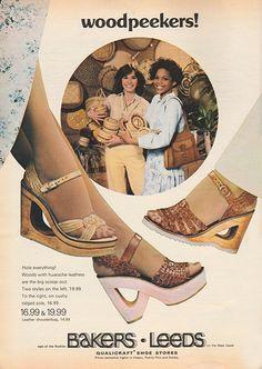 Retro Ads, Vintage Advertisements, Vintage Ads, Retro Posters, Patti Hansen, Lauren Hutton, Vogue, Novela Boogie Oogie, Vintage Shoes