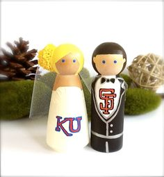 Sport Wedding Cake Toppers Any Sports Team Themed Bride Groom Custom Baseball Football Basketball Wood Peg Dolls Nfl Mlb. $70.00, via Etsy. - except ECU and ATL Braves