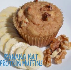 Banana Nut Muffins shared by karli_tonesup! 2/3 cup oat flour, 1 scoop Perfect Fit Protein, 1 tsp cinnamon, 2 tsp baking powder, 1/4 cup maple syrup, 2 mashed bananas, 1/2 cup applesauce, 1/2 cup plain flavored @elliquark, 2 egg whites, 1 tsp vanilla extract, 1/4 cup crushed walnuts. Coat tin with spray. Mix together dry ingredients. In small bowl, combine wet ingredients. Add wet to dry mixture, stir. Let batter sit to thicken. Pour in tin, top with nuts. Bake 400 degrees for 15-20 minutes.