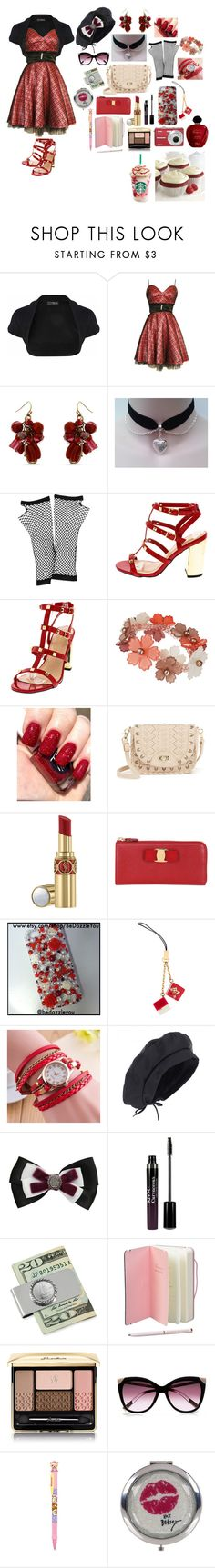 """""""Red Dress(Love for the Valentines Day)♡🎀💗💓💕💖💞💘💌💋"""" by sasukeuchiha2498 ❤ liked on Polyvore featuring Jane Norman, Erica Lyons, Forever 21, Wallis, Under One Sky, Yves Saint Laurent, Salvatore Ferragamo, Louis Vuitton, Sebastian Professional and NYX"""