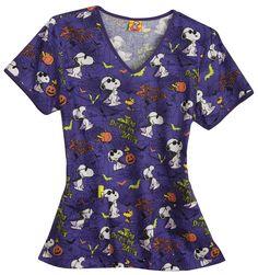 Scrubs - Cherokee Tooniforms 100% Cotton Drive Me Batty Scrub Top, Snoopy Halloween Nursing Srubs & Medical Uniforms