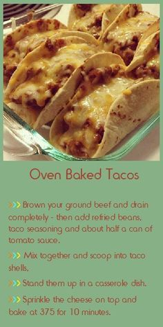 *make with low carb tortillias** Oven Baked Tacos. baked mine while fixing the toppings. top edges were nicely crispy. Would like to get the rest of the shell to taste like that. Oven Baked Tacos, Baked Tacos Recipe, I Love Food, Good Food, Yummy Food, Tasty, Food Dishes, Main Dishes, Food To Make