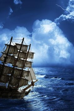 Tall Ship In Storm.