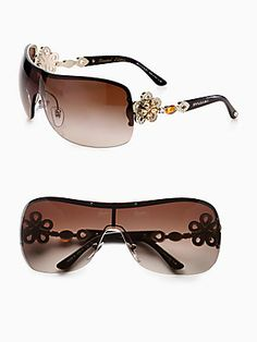 73640d7a280d BVLGARI - Crystal Accented Metal Shield Sunglasses