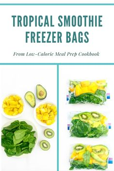 Easy meal prep breakfast that you can make ahead. Simply add leafy greens and fruit to a freezer safe zip, top bag. When ready to enjoy, add contents to a blender, add 1 cup of liquid and blend until smooth.   More recipes like this in my new cookbook, Low Calorie Meal Prep Cookbook!
