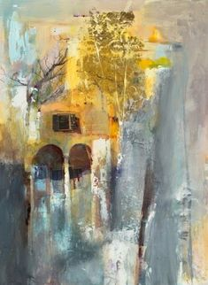 """Daily Painters Abstract Gallery: Contemporary Botanical Abstract Landscape Painting """"Beyond the Arches"""" by Intuitive Artist Joan Fullerton"""