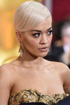 Short Hairstyle Ideas: Rita Ora Side-Parted Sleek Hair  #shorthair #hairstyles