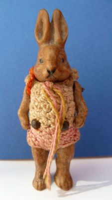 ANTIQUE BISQUE JOINTED RABBIT DOLL HERTWIG c1910