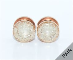 Pearl Crushed Glass on Rose Gold Plugs / 8g 6g by DefiantJewelry
