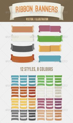 Vintage Vector Ribbon Banners $4.00 #vector