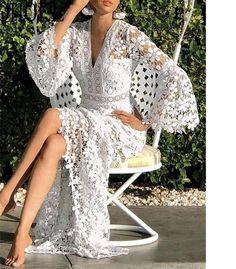 Mode Hippie, Plain Dress, White Dress, New Wedding Dresses, Crochet Wedding Dresses, Look Fashion, Latest Fashion, Types Of Sleeves, Full Sleeves