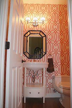 Coral Wallpaper Bathroom