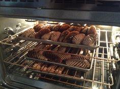 Перед тем как использовать шишки в декоре, обязательно просушите их в духовке 20–30 минут при температуре в 200 градусов. Так вы избавитесь от излишков влаги и насекомых внутри.