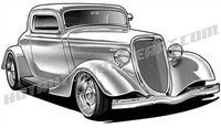 1934 ford hot rod art 3/4 view