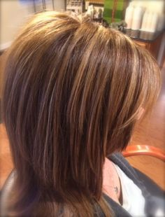 Natural, honey highlights in a medium, warm brunette base. Great colors & tones for those  changing from Fall warm, auburn tones to natural warm brunette tones for Summer. This helps not to go quite so brassy in the Summer Sun.