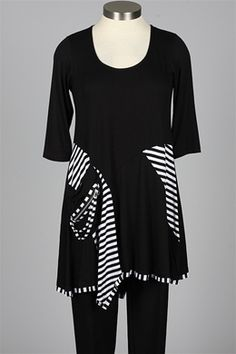 inside out - Florence Tunic - Black & White Stripe - New Items at Fawbush's