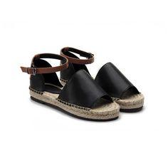 Black Peep Toe Leather Look Ankle Strap Flat Sandals