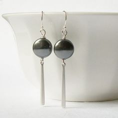 Grey Silver Drop Earrings Wedding Jewelry by PeriniDesigns on Etsy