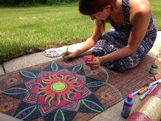 Yoga Mat Handpainted Jute Fiber Sun Mandala by TheLightWarriors