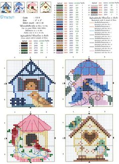 Bird Embroidery Pattern Birdhouses 67 Ideas For 2019 Cross Stitch House, Cross Stitch Boards, Mini Cross Stitch, Cross Stitch Animals, Cross Stitch Flowers, Counted Cross Stitch Patterns, Cross Stitch Designs, Cross Stitch Embroidery, Embroidery Patterns