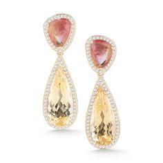 STYLE #E1883                     14K Yellow Gold with Diamonds, Yellow Beryl  and Tourmaline