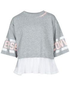 Converse Big Girls Mesh-Trim Graphic-Print T-Shirt - Gray M ( 1e6708d02d