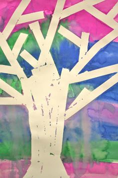 FLYING CRAYONS and other adventures in my elementary art room: Masking Tape Resist Trees Third Grade