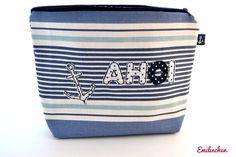 Kulturbeutel - Waschtasche maritim, Ahoi - ein Designerstück von Anja-Emilinchen bei DaWanda