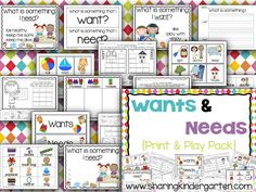 This WANTS and NEEDS print & play pack is a MUST HAVE for each K classroom.