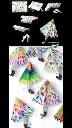 For rainy days idea.imagining it on black or gray backround,and umbrellas in color pop-up Autumn Crafts, Summer Crafts, Diy And Crafts, Arts And Crafts, Paper Crafts, Projects For Kids, Diy For Kids, Crafts For Kids, Rainy Day Crafts