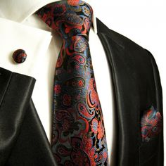 Red, Blue and Black Paul Malone Paisley Tie Set (885CH)