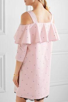 Paul & Joe - Off-the-shoulder Lace-trimmed Cotton-jacquard Mini Dress - Pastel pink - FR38