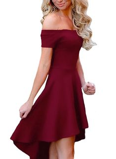 ea787eab06 Mypuffgirl Womens Off The Shoulder Casual Skater Cocktail Party Dress High  Low SkirtBurgundy Size S