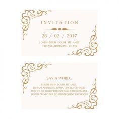 結婚式の招待状カード 無料ベクター