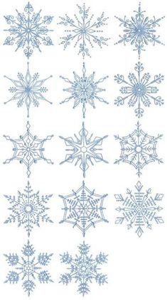 Silk Ribbon Embroidery Flowers Snowflakes Too 14 Different Redwork Machine Embroidery Designs - Border Embroidery, Folk Embroidery, Silk Ribbon Embroidery, Embroidery Stitches, Shirt Embroidery, Embroidery Jewelry, Embroidery Ideas, Crochet Snowflake Pattern, Crochet Snowflakes