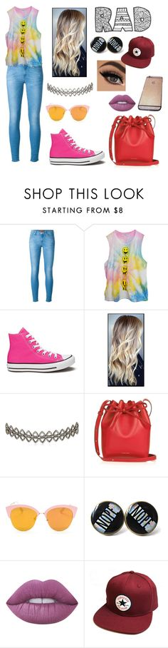 """""""rad not sad and always bad"""" by sharks2 ❤ liked on Polyvore featuring 7 For All Mankind, High Heels Suicide, Converse, Assya London, Mansur Gavriel and Lime Crime"""