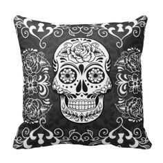 Decorative Sugar Skull Black White Gothic Grunge Design Throw Pillow