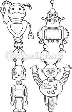 Arte Robot, Robot Art, Robot Illustration, Illustrations, Drawing For Kids, Painting For Kids, Robot Vector, Cute Drawings, Animal Drawings