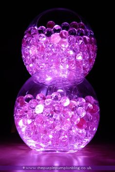 Try following the easy DIY directions on the site and put the beads and lights in a non-breakable sealed container to use safely in a sensory room. Bowls of Light | Gel Deco Beads & LED Lights | The Purple Pumpkin Blog