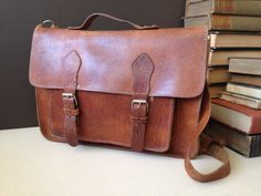 Vtg Distressed Leather School Bag Crossbody by JansVintageStuff, $124.00
