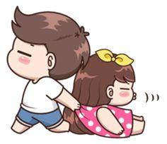 Boobie Cute Couple : Love Love – LINE stickers | LINE STORE Cute Chibi Couple, Love Cartoon Couple, Cute Couple Comics, Cute Love Cartoons, Cute Love Couple, Anime Love Couple, Cute Anime Couples, Cute Comics, Couple Art